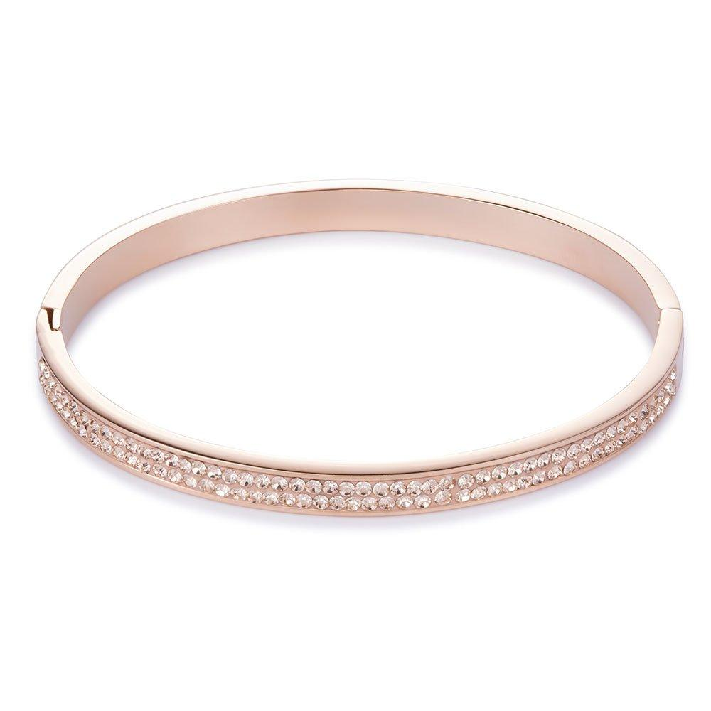 Coeur De Lion Rose Gold Tone Crystal Bangle