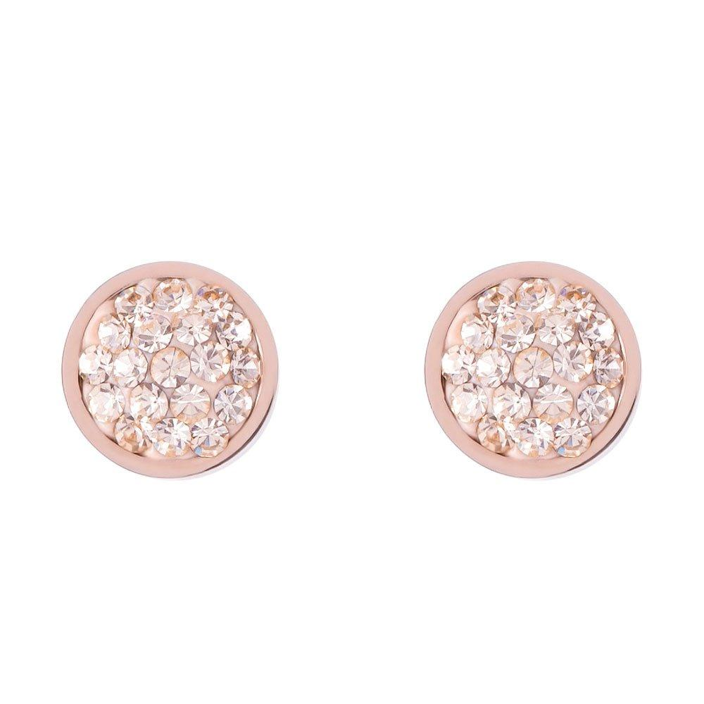 Coeur De Lion Brilliant Rose Gold Tone Crystal Stud Earrings