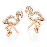 Silver Rose Gold Plated Cubic Zirconia Flamingo Earrings