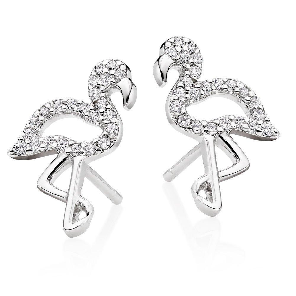 Silver Cubic Zirconia Flamingo Earrings