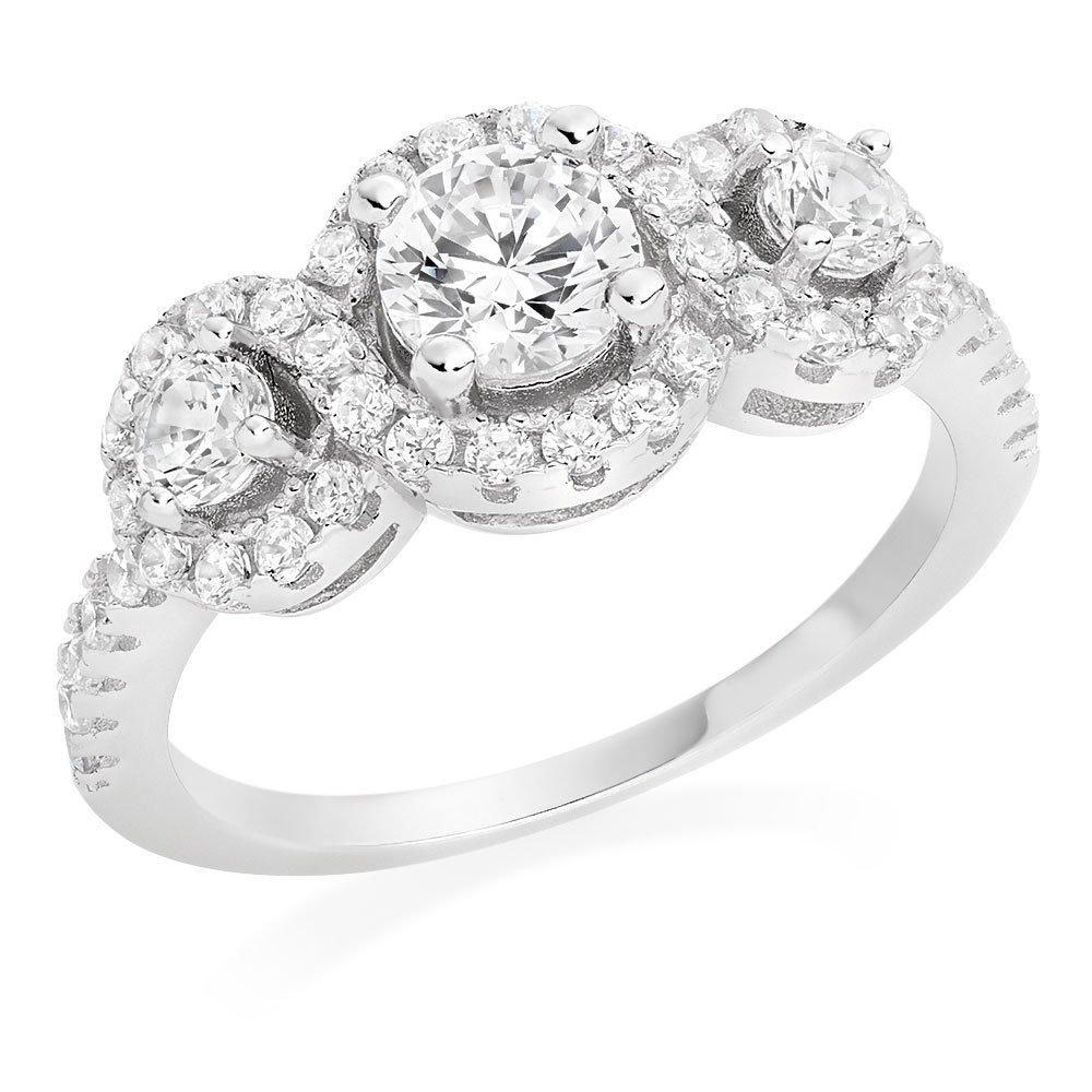 Silver Cubic Zirconia Halo Three Stone Ring
