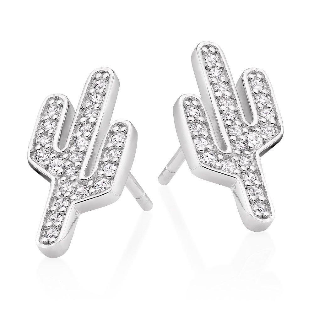 Silver Cubic Zirconia Cactus Earrings