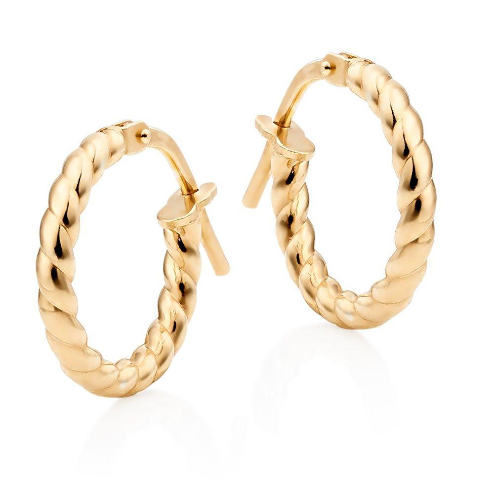 Silver Gold Plated Twist Hoop Earrings