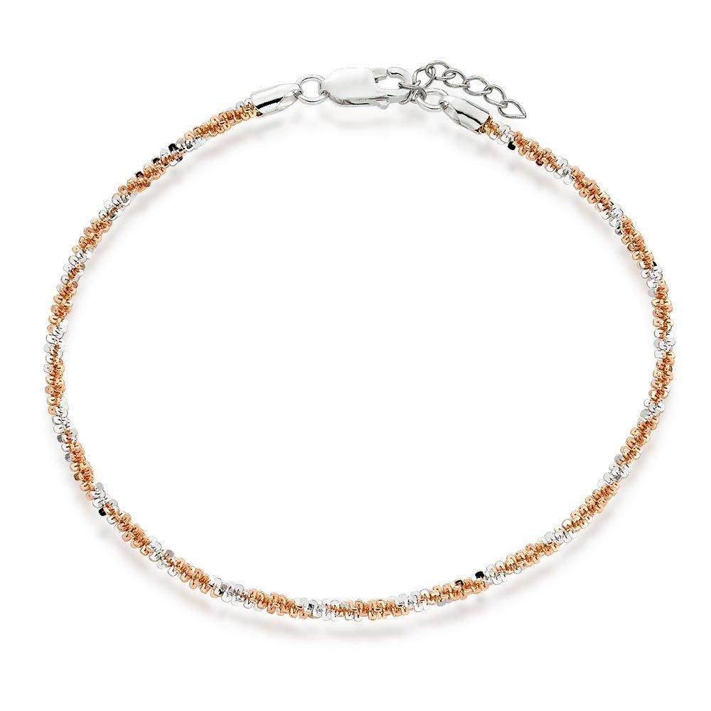 Silver and Rose Gold Plated Twist Anklet