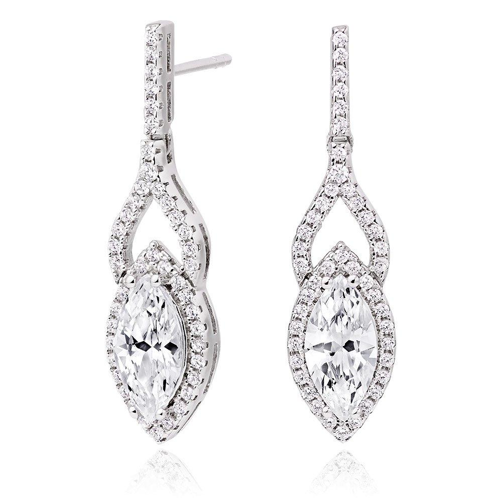 Silver Cubic Zirconia Marquise Drop Earrings