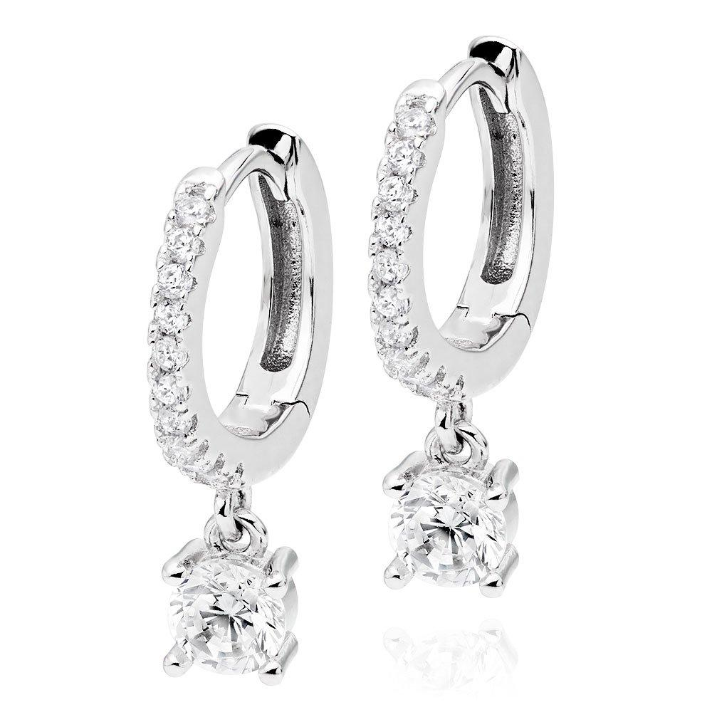 Silver Cubic Zirconia Drop Hoop Earrings