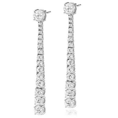 Silver Cubic Zirconia Graduated Drop Earrings