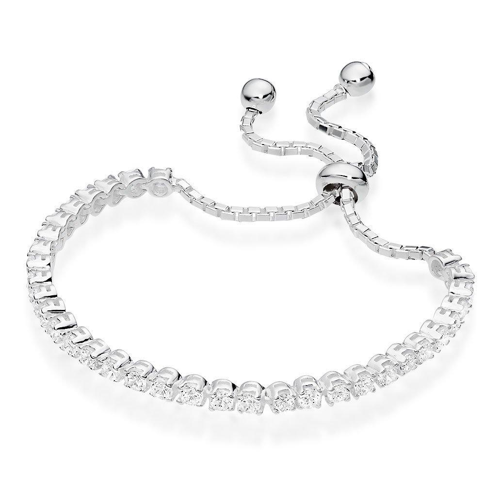 Silver Cubic Zirconia Tennis Slider Bracelet