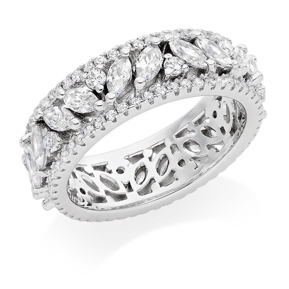 Silver Cubic Zirconia Marquise Triple Row Ring