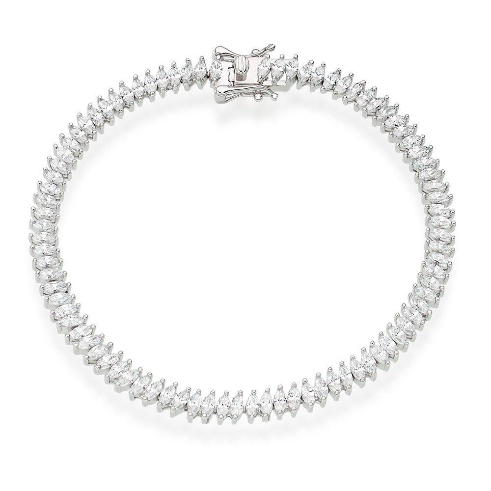 Silver Cubic Zirconia Marquise Bracelet