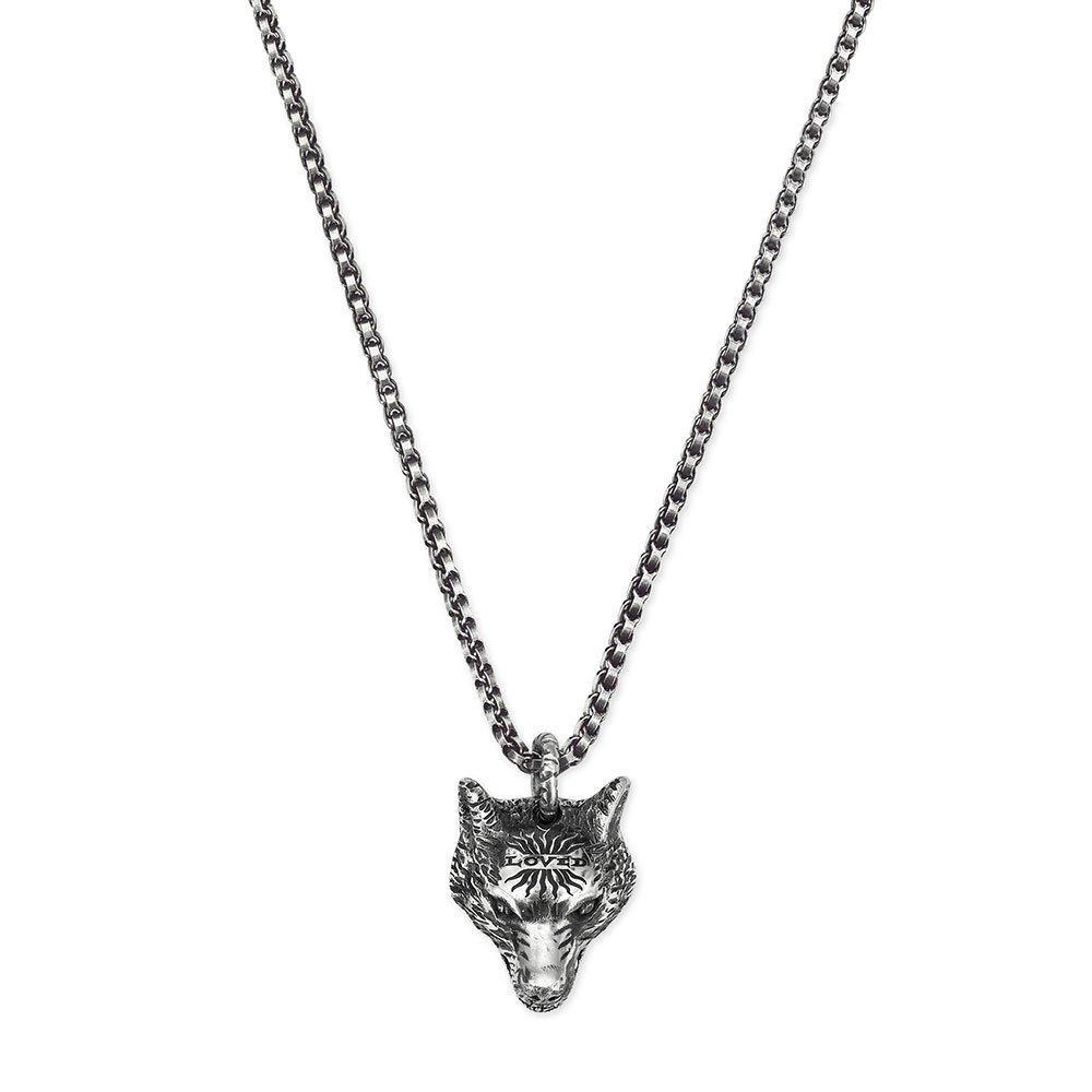Gucci Wolf Head Silver Pendant