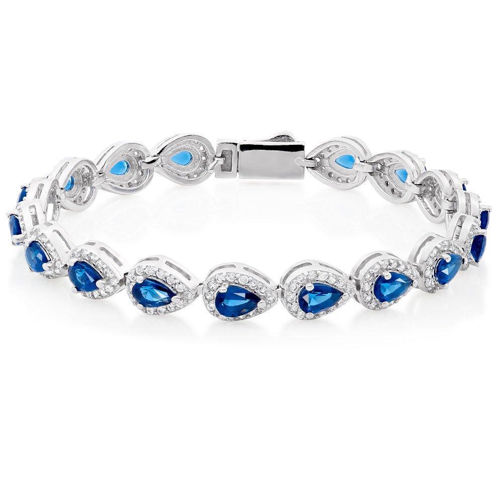 Silver Blue Cubic Zirconia Pear Halo Bracelet