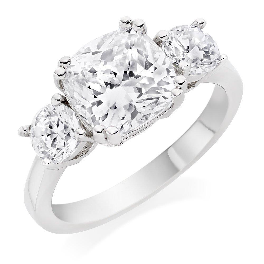 Silver Cubic Zirconia Three Stone Ring
