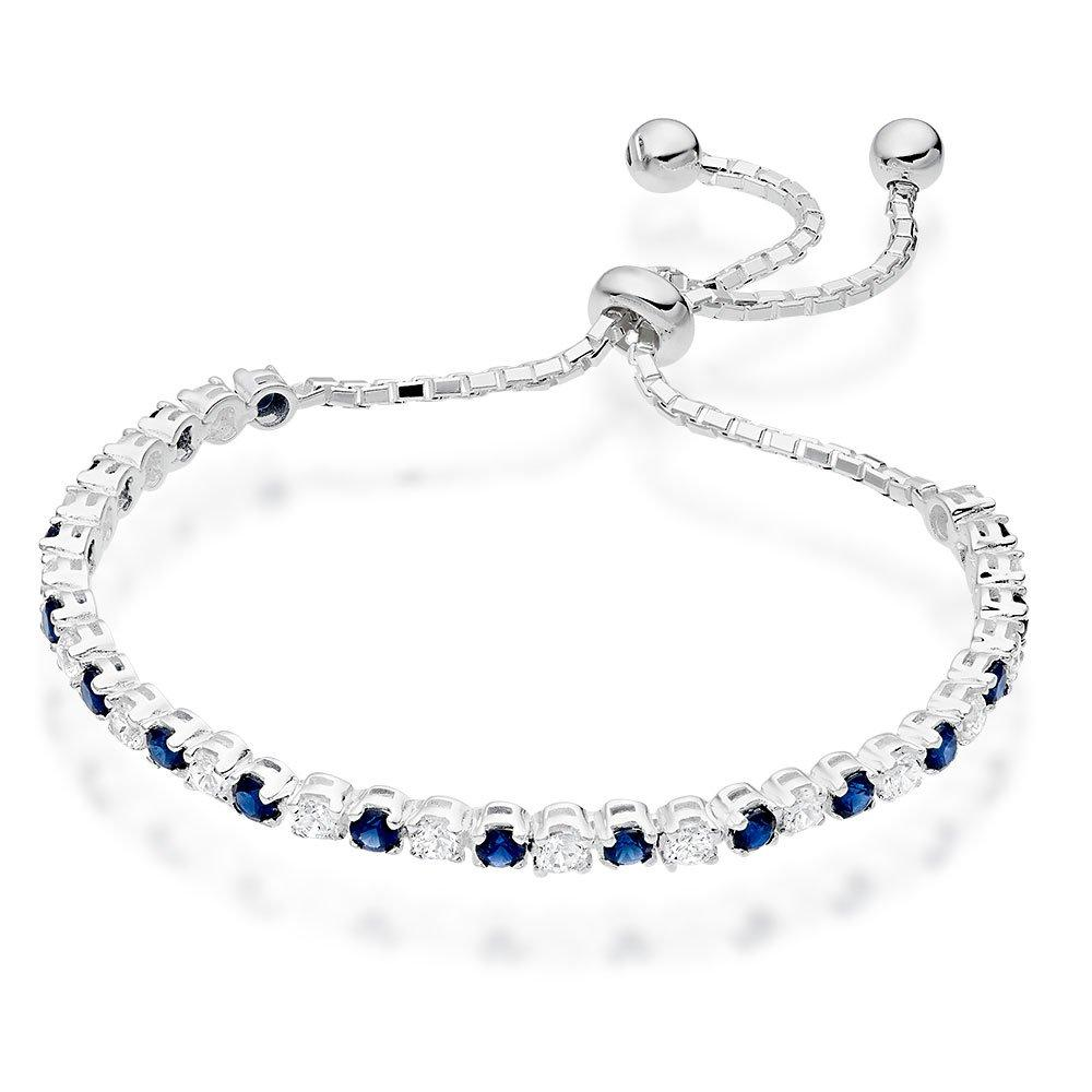 Silver Synthetic Sapphire and Cubic Zirconia Slider Bracelet
