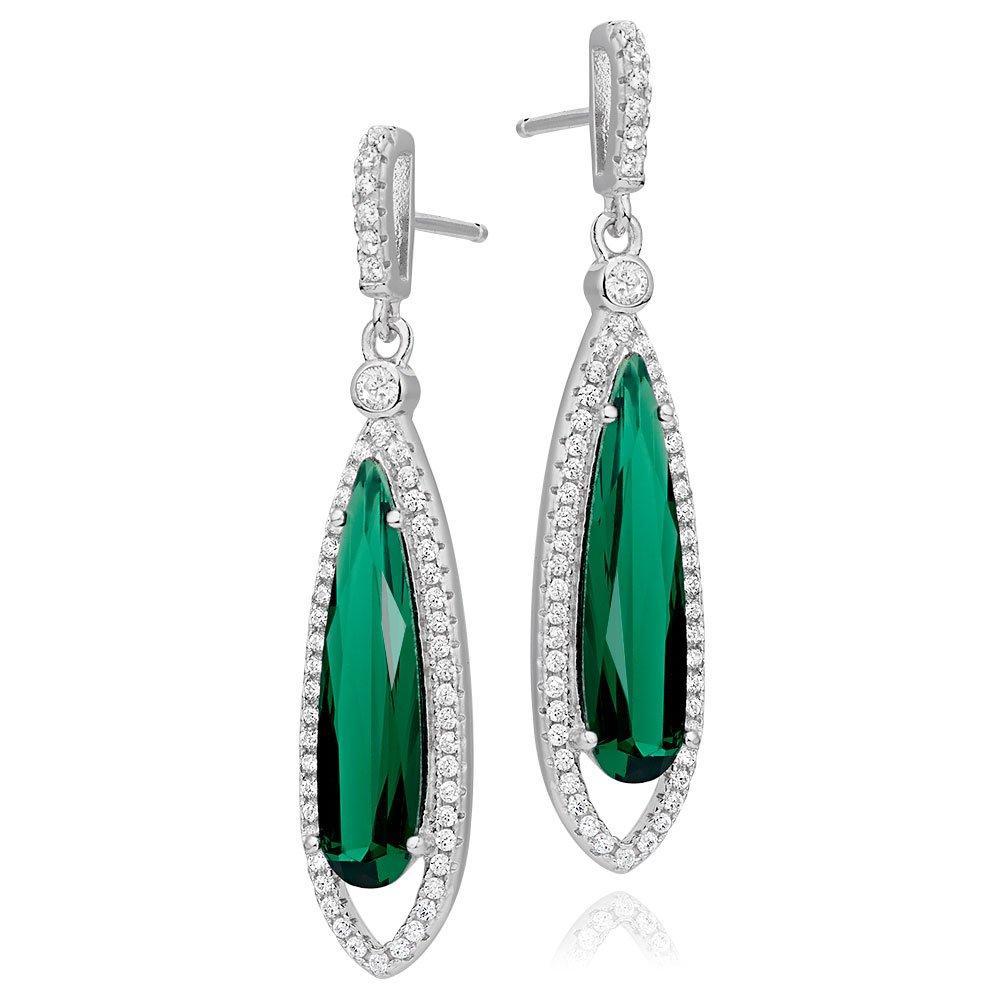 Silver Green Cubic Zirconia Halo Drop Earrings