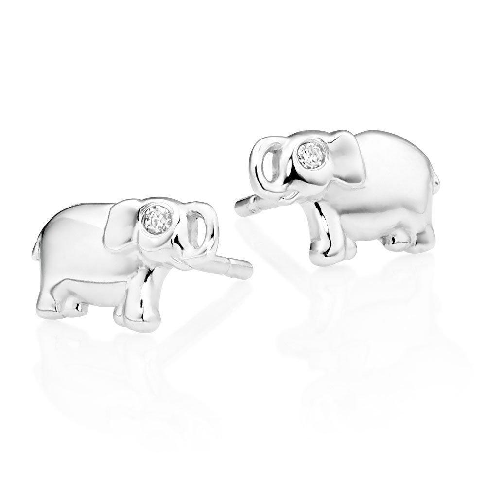 Mini B Silver Diamond Elephant Earrings