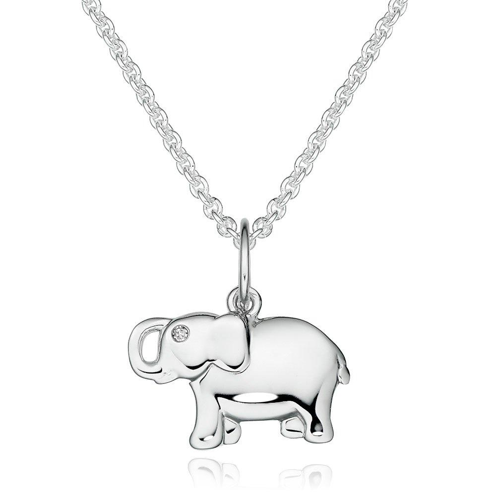 Mini B Silver Diamond Elephant Children's Pendant