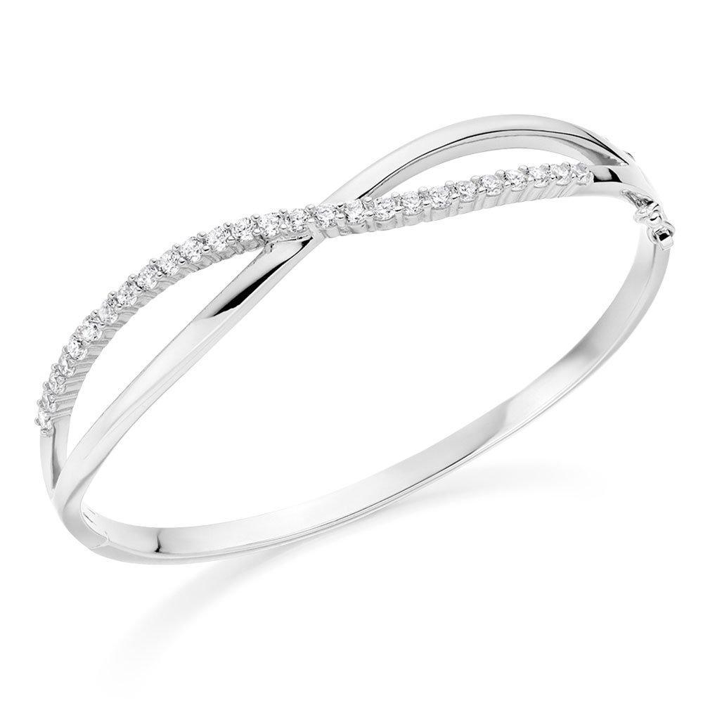 Silver Cubic Zirconia Twist Bangle