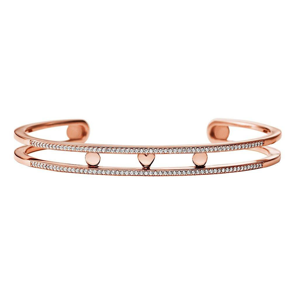 Michael Kors Custom Kors 14ct Rose Gold Plated Silver Cubic Zirconia Nesting Bangle