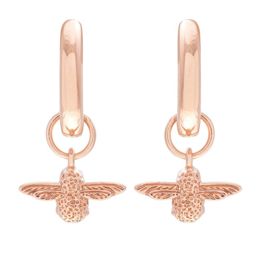 Olivia Burton 3D Bee Rose Gold Plated Silver Huggie Hoop Earrings