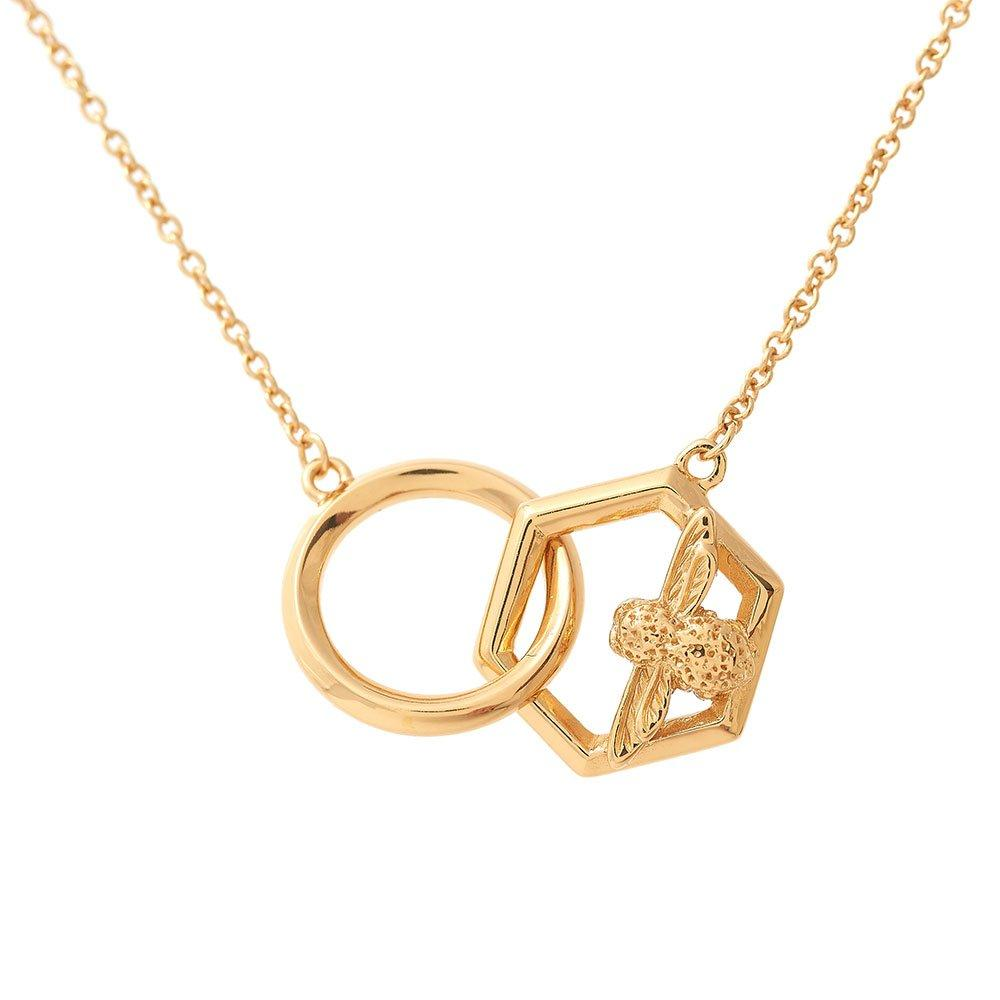 Olivia Burton 18ct Gold Plated Honeycomb Bee Necklace
