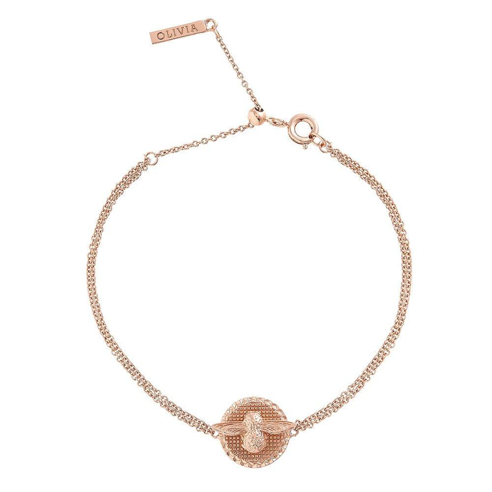 Olivia Burton 18ct Rose Gold Plated 3D Bee and Coin Bracelet