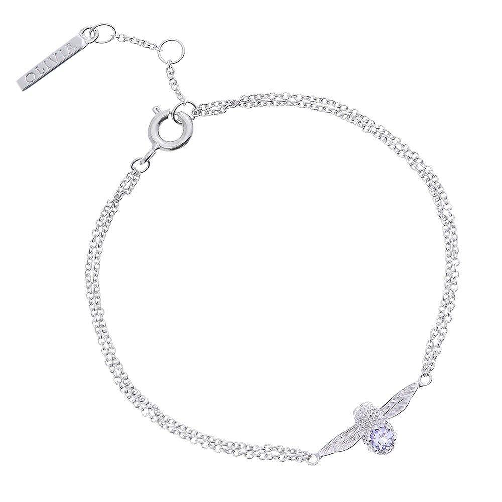 Olivia Burton 3D Bee Silver Tone Tanzanite Bracelet