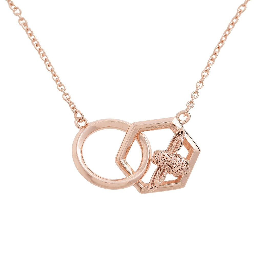 Olivia Burton Honeycomb 3D Bee Rose Gold Tone Necklace