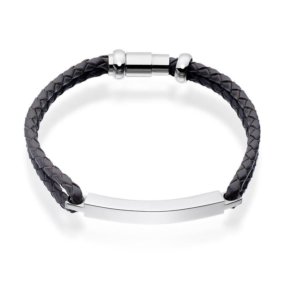 Grey Leather and Steel Bar Men's Bracelet