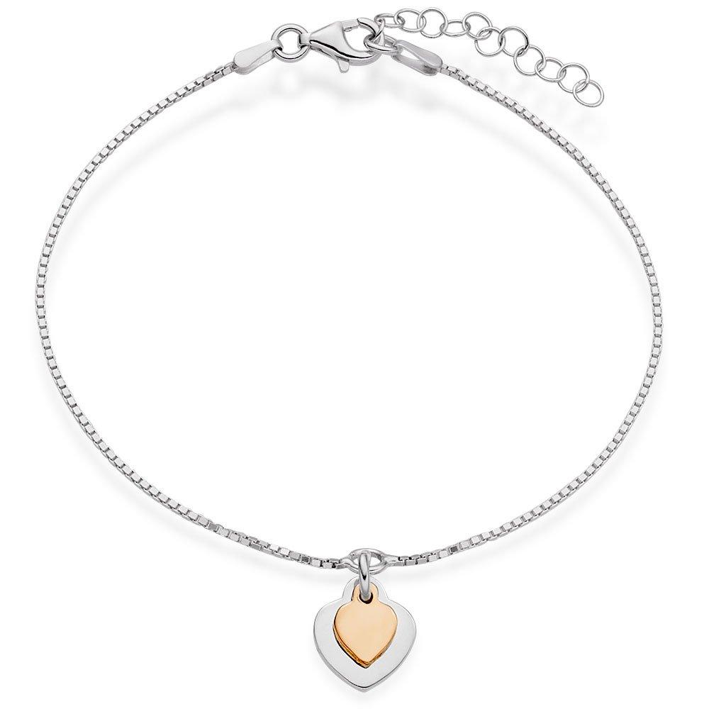 Silver and Rose Gold Plated Double Heart Bracelet
