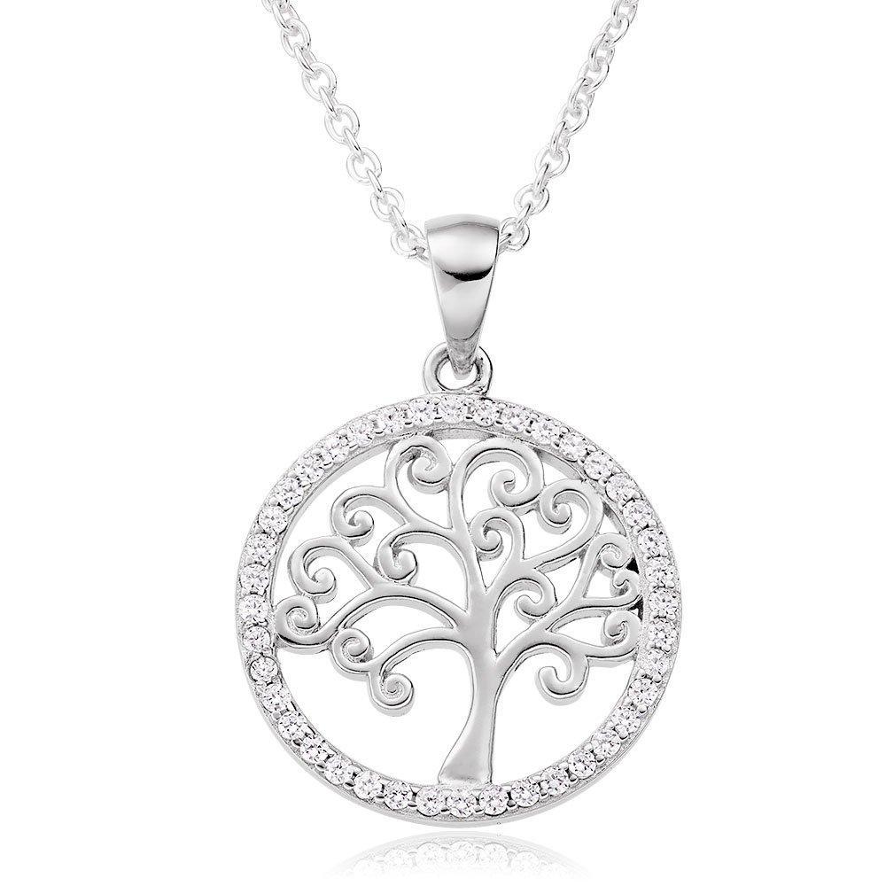 Silver Cubic Zirconia Tree Pendant