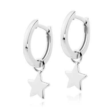 Silver Star Charm Hoop Earrings