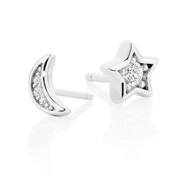 Silver Cubic Zirconia Moon and Star Stud Earrings