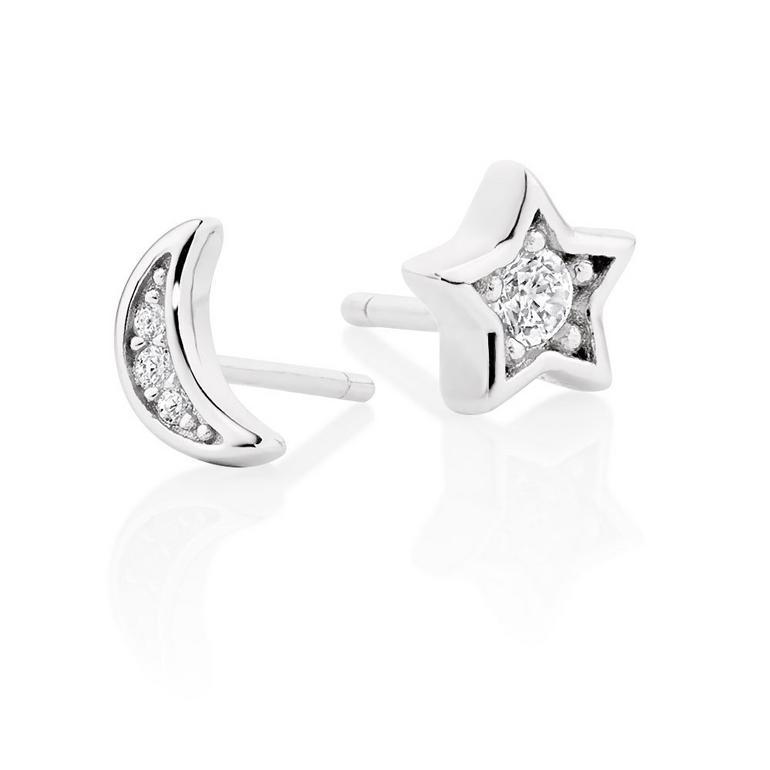 Silver Cubic Zirconia Moon & Star Stud Earrings