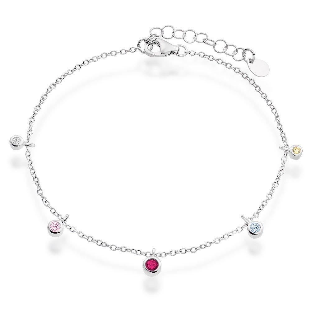 Silver Cubic Zirconia Drop Bracelet