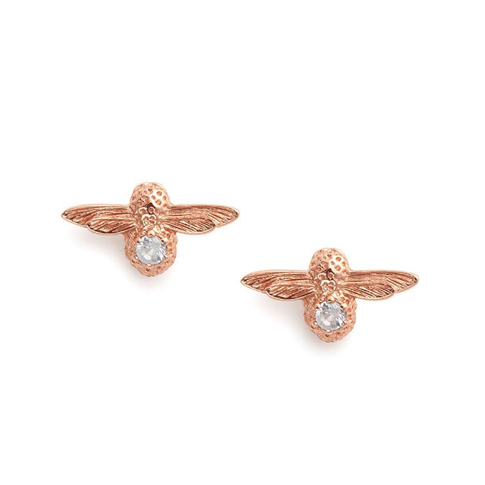 Olivia Burton Celebration Bee Rose Gold Plated Silver White Topaz Earrings