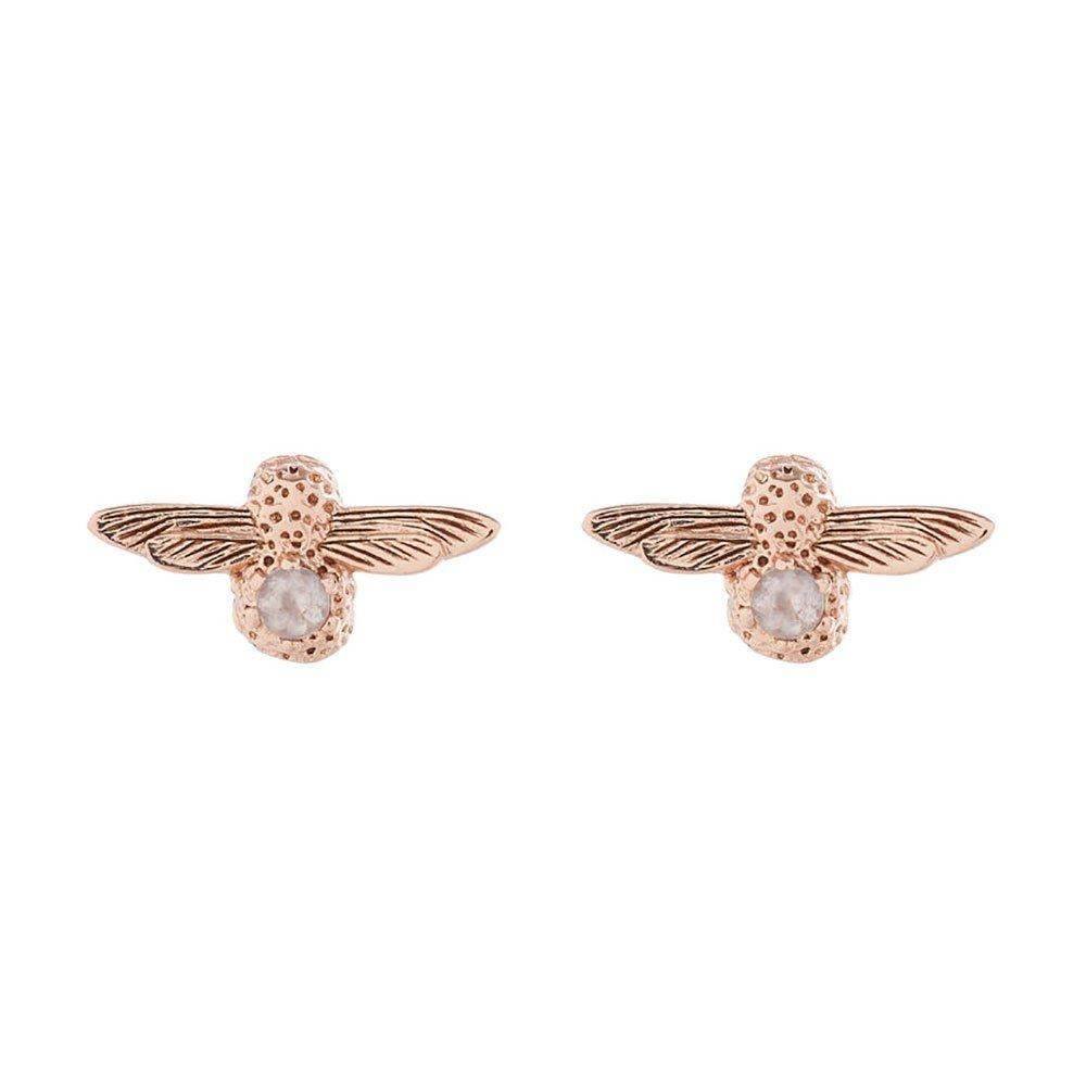 Olivia Burton Celebration Bee Rose Gold Plated Silver Rose Quartz Earrings