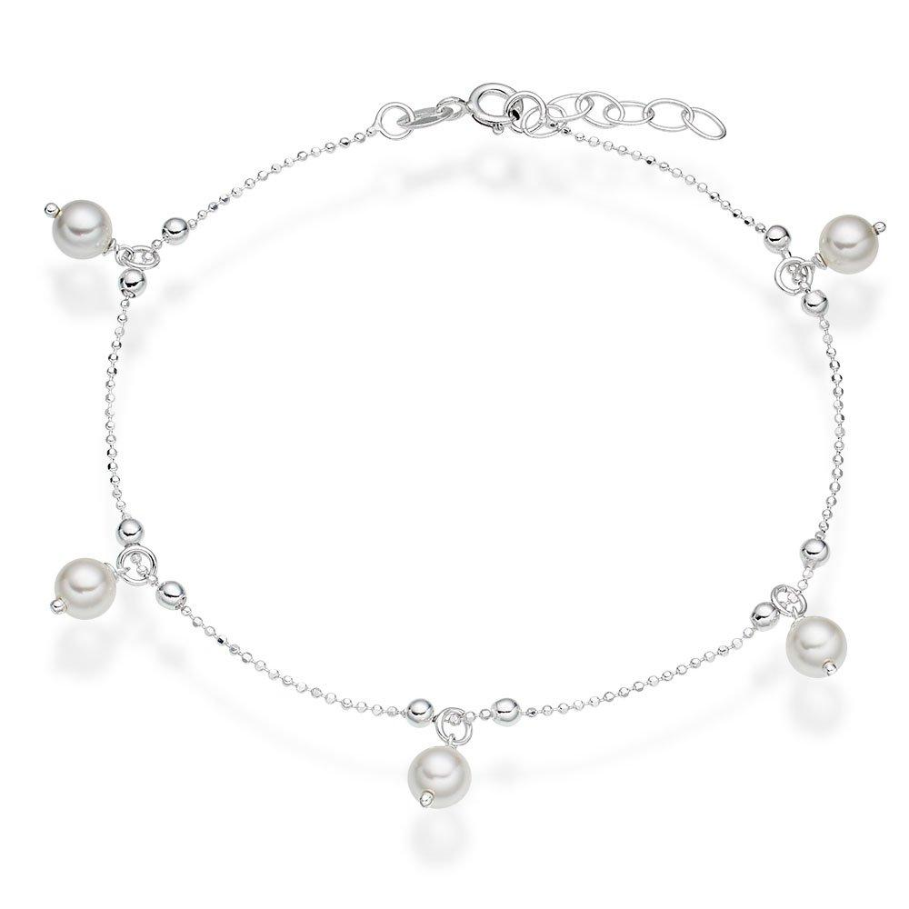 Silver Synthetic Pearl Anklet