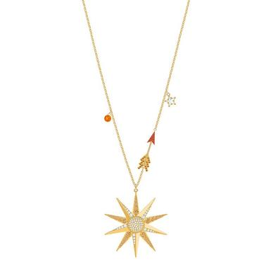 Swarovski Lucky Goddess Yellow Gold Tone Crystal Star Pendant