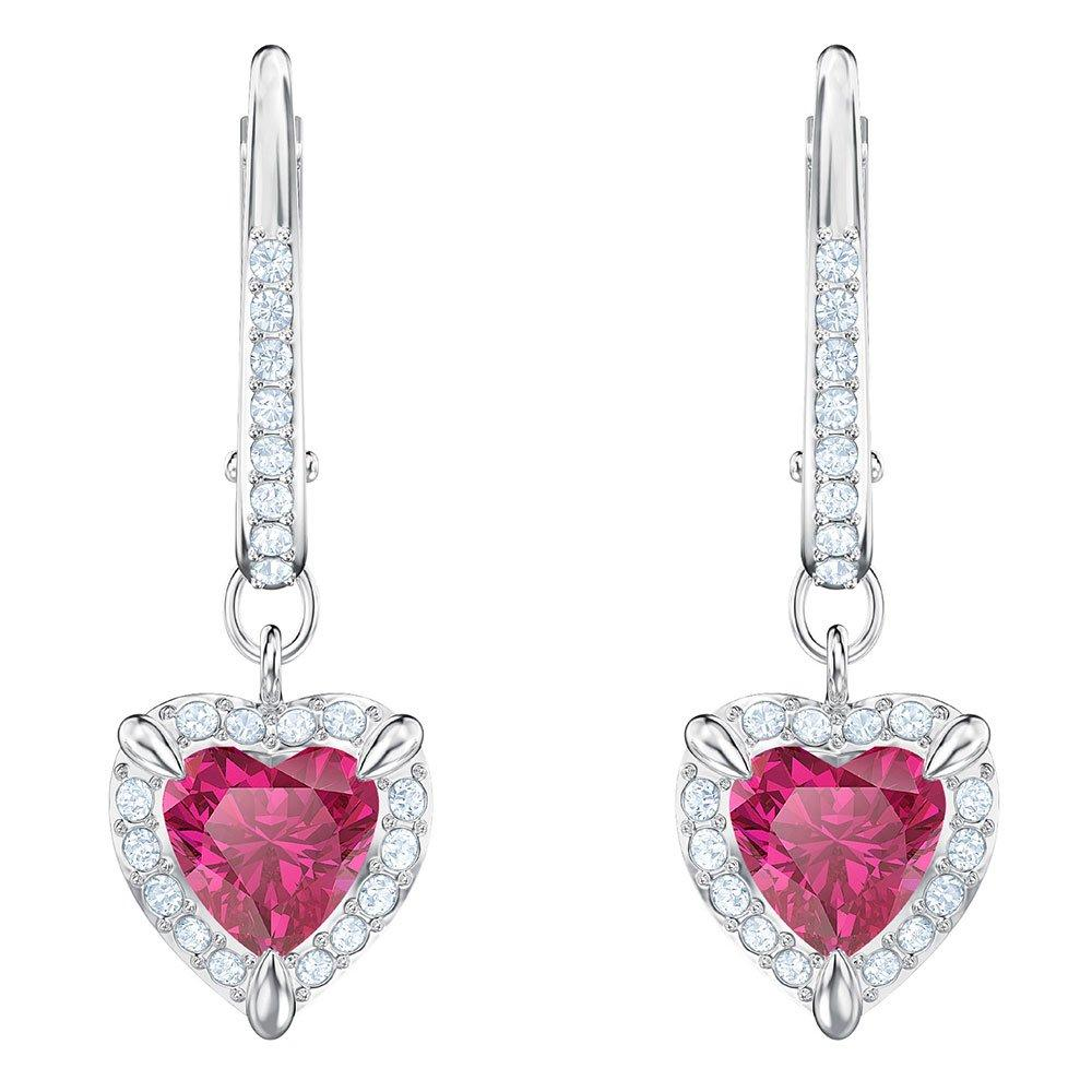 Swarovski One Red Heart Crystal Drop Earrings