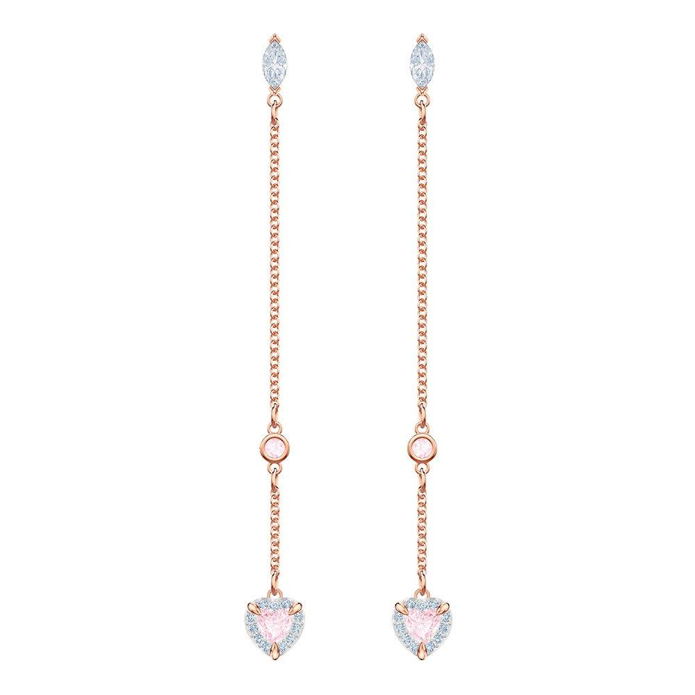 Swarovski One Rose Gold Plated Heart Drop Earrings
