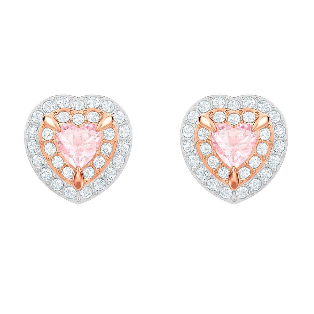 Swarovski One Rose Gold Plated Heart Stud Earrings