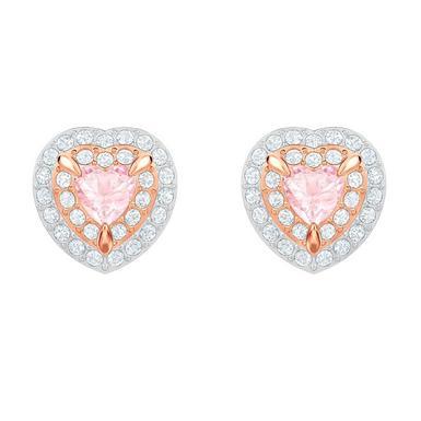 Swarovski One Rose Gold Plated Heart Stud Earrings