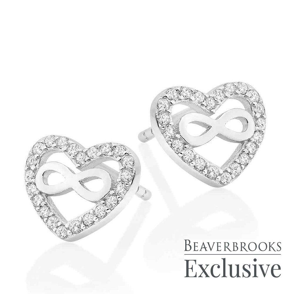 Silver Cubic Zirconia Infinity Heart Earrings