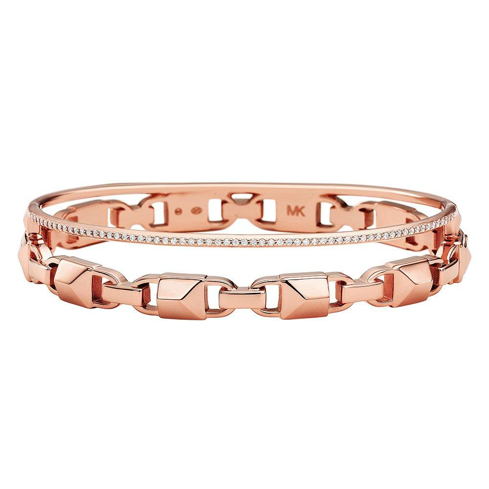 Michael Kors Mercer Link 14ct Rose Gold Plated Crystal Bangle