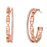 Michael Kors Mercer Link 14ct Rose Gold Plated Crystal Hoop Earrings