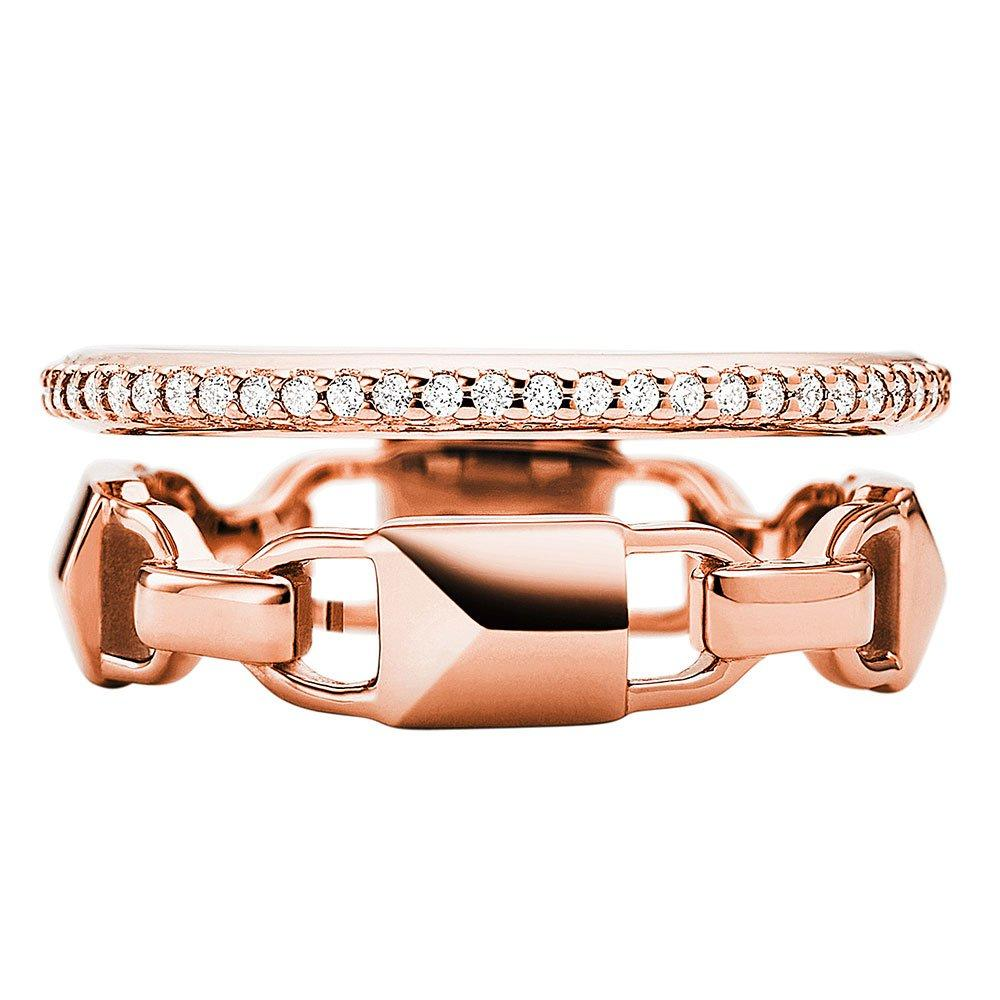 Michael Kors Mercer Link 14ct Rose Gold Plated Crystal Ring