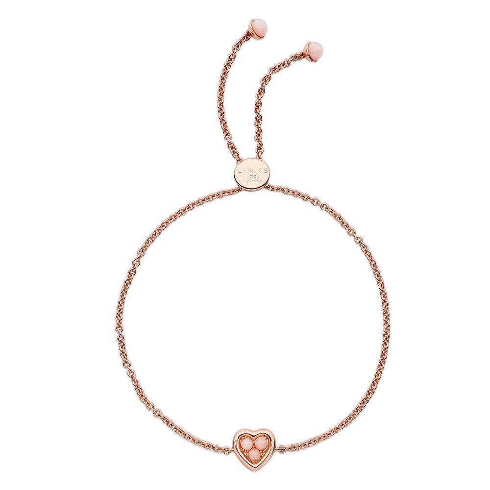 Links of London Rose Gold Plated Silver Pink Opal Heart Bracelet
