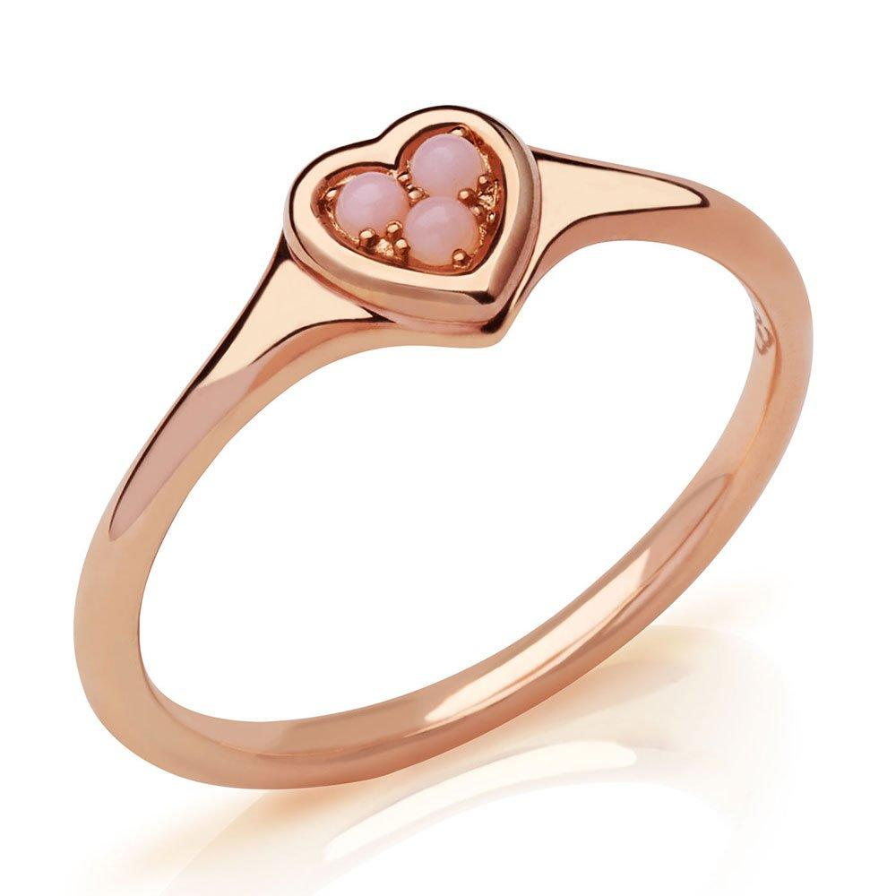 Links of London Rose Gold Plated Silver Pink Opal Heart Ring