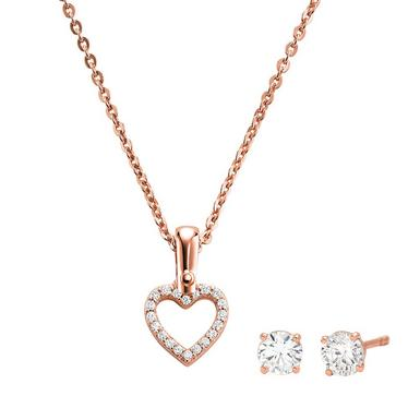 Michael Kors Rose Gold Plated Silver Cubic Zirconia Heart Pendant and Earrings Set
